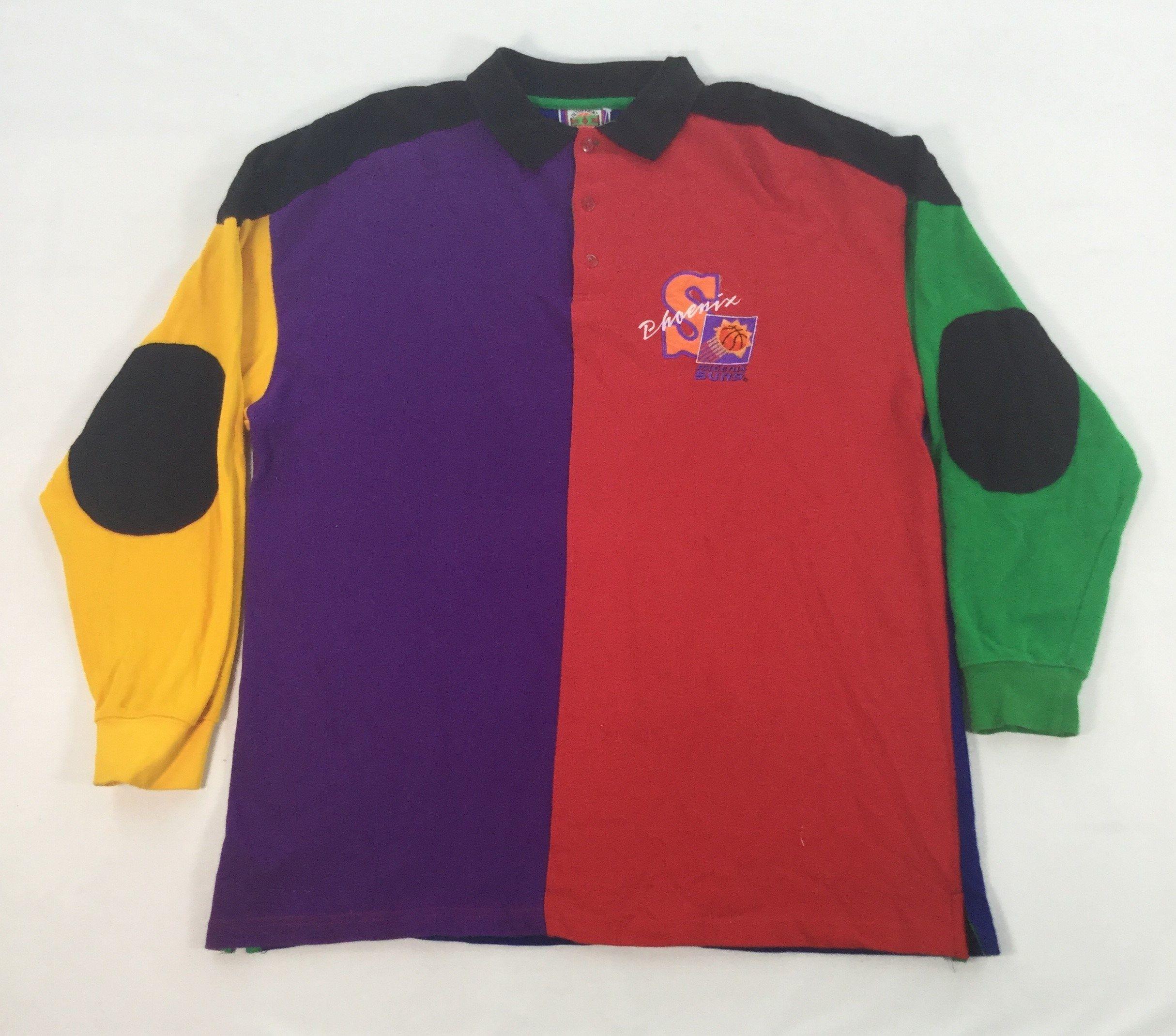 Vintage 90/'s Phoenix Suns Basketball Color block striped polo shirt collared shirt Suns Basketball vintage hip hop 90/'s party Meidum