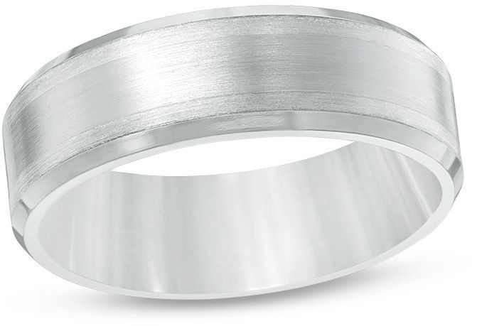 Zales Edward Mirell Mens 7.0mm Comfort Fit Sterling Silver Inlay Wedding Band in Titanium nOb8m