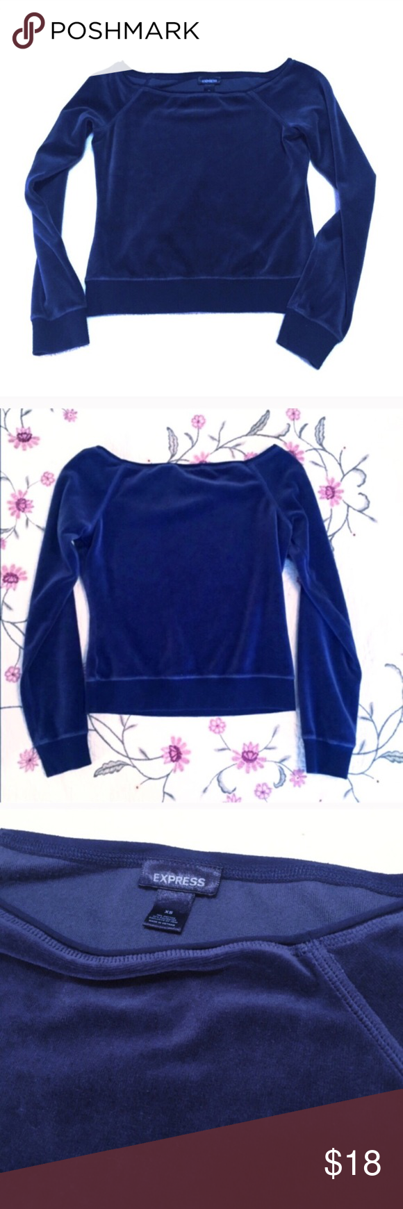 """🆕Express navy velour cropped long sleeve top Measures approx 19"""" long, 21"""" arm length, & 16"""" across chest. Size XS. Cotton/poly blend. NWOT. Flawless! Washed once but never worn. ✖️I do NOT MODEL✖️ 🔴Bundle to save! 🔴NO TRADES. 🔴REASONABLE offers welcome via offer button. Express Tops"""