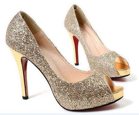 eeef8d53012 Fashion sequined 8cm high heels shining designer woman shoes classical black  and gold colors size from 33-43 US  36.00