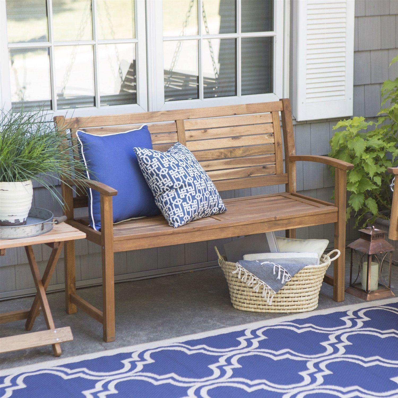 Outdoor 4 Ft Classic Slat Back Garden Bench Patio Arm Chair