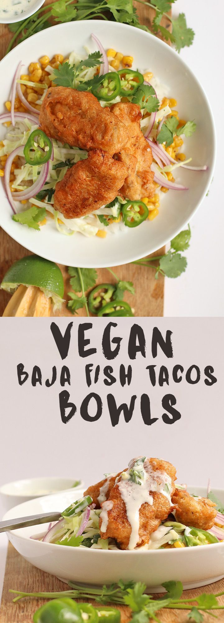 Made with beer battered vegan fish sticks, roasted corn, and cabbage slaw, these Vegan Baja Fish Taco Bowls are delightfully refreshing and unbelievable delicious. with beer battered vegan fish sticks, roasted corn, and cabbage slaw, these Vegan Baja Fish Taco Bowls are delightfully refreshing and unbelievable delicious.