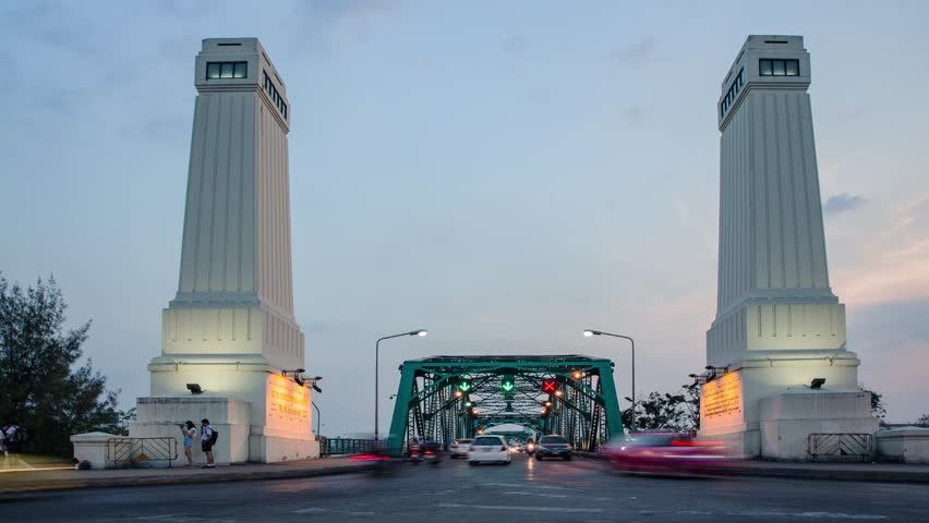 Memorial Bridge, is a bascule bridge over the Chao Phraya River in Bangkok, Thailand. Timelapse 4K resolution