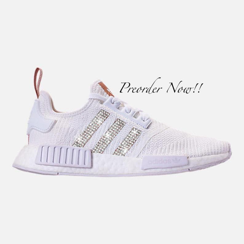 Swarovski Womens Adidas Originals Nmd R1 White Gold Sneakers