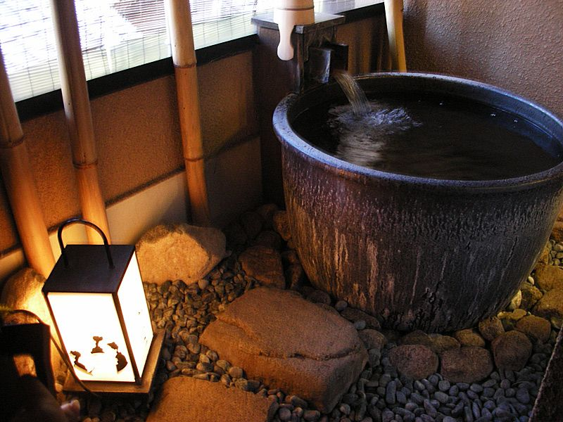Bagno Giapponese ~ Rocks under japanese tub. natural elements japan: people and