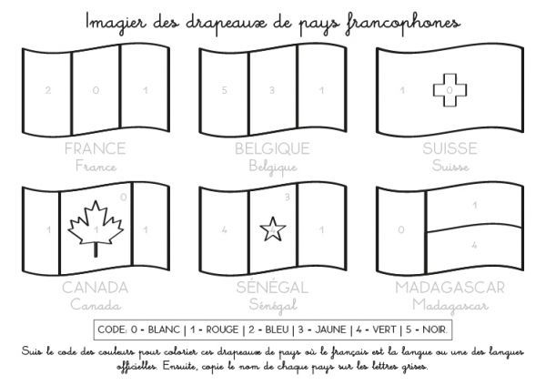 Coloriage imprimer imagier des drapeaux de pays - Drapeaux a colorier ...