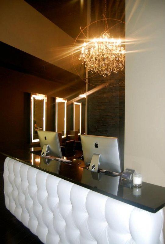 g michael salon front desk.. so pretty  tufted reception