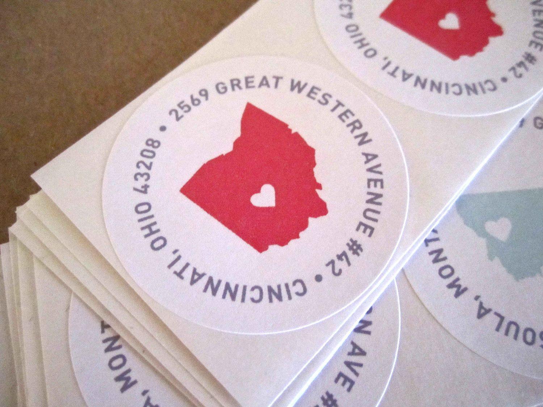 Return Address Sticker // State with Heart, Wedding Invitation ...