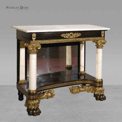 A Fine Classical Carved Parcel Gilt Stenciled Mahogany Marble Top Pier Table