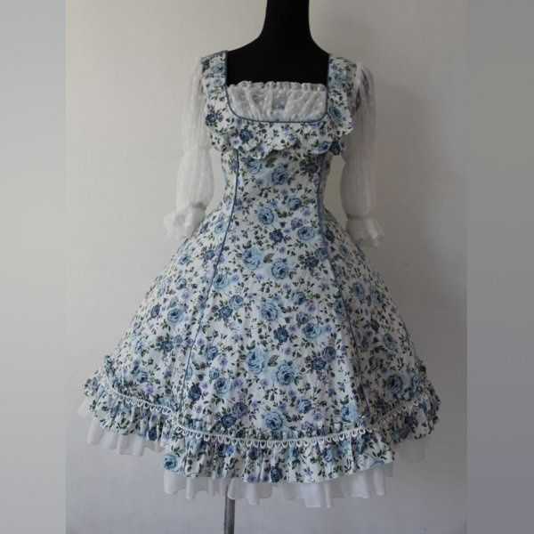 I found 'Handmade Blue Lace Long Sleeves Rose Pattern Cotton Sweet Lolita Dress (Made to Order)' on Wish, check it out!