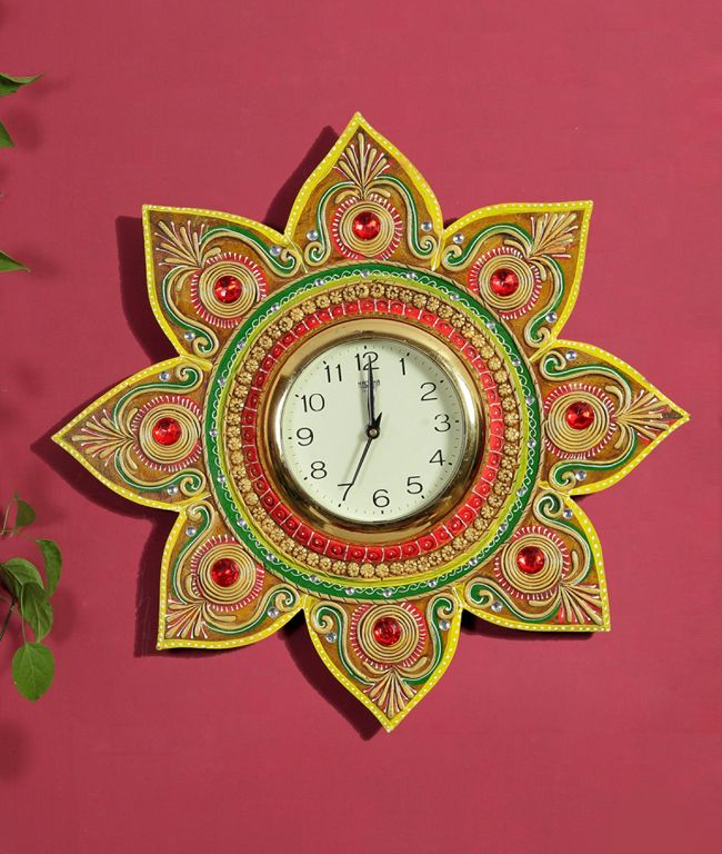 Floral Clock Looks Great On Any Living Room Or Study Wall Hand Painted Accents On Clay Work And Studded With Red Kundans The Floral Clock Clock White Clocks