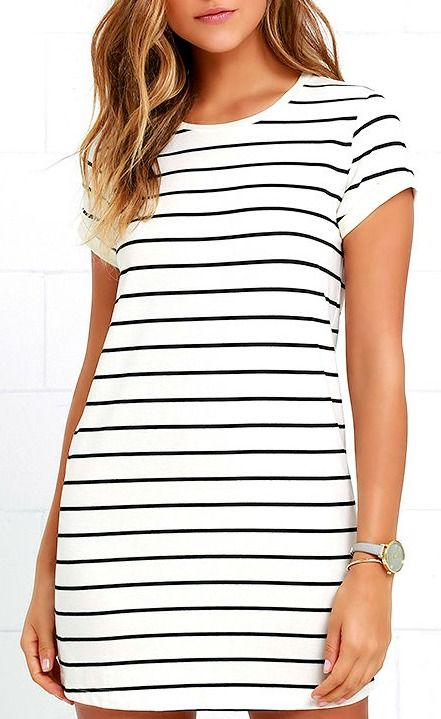 e326742d336d The Cafe Society Black and Cream Striped Shirt Dress is cool enough for the  cafe crowd, and comfy enough for cuddling on the couch! Stretch knit shapes  this ...