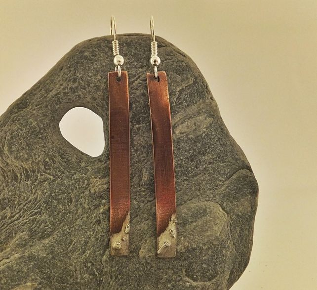 Fused copper and fine silver earrings £20.00