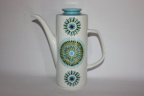 Mid century Meakin Aztec coffee pot blue white by MillCottageRetro