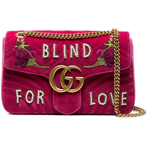 6f8fc4de11c Gucci Pink GG Marmont Medium Velvet Shoulder Bag (10.590 RON) ❤ liked on  Polyvore featuring bags