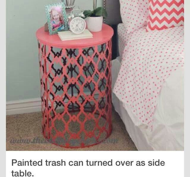 Painted Trash Can Turned Over As A Side Table