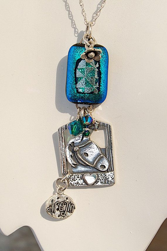 "Horse Lover ""dream"" necklace Pony Barn Sterling Silver Charm, handcrafted  Dichroic glass, Swarovski Crystals in turquoise and teal. from Joann Hayssen SRA  $45.00  -  20% of the purchase price will help feed the 50 horses at Rosemary Farm horse rescue and sanctuary!"