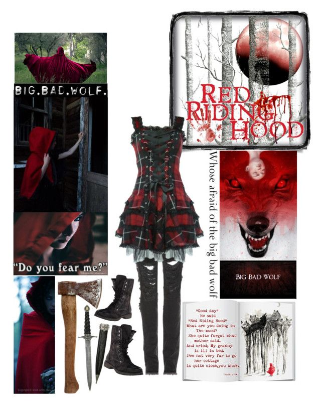 """""""Creepypasta Oc #7 Red Riding Hood"""" by pastelgothprincess27 ❤ liked on Polyvore featuring Cole & Son, Marvel, Christopher Kane, Hell Bunny and Roxy"""
