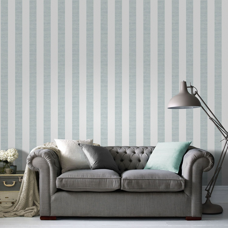 Duck egg Striped Wallpaper White and silver wallpaper
