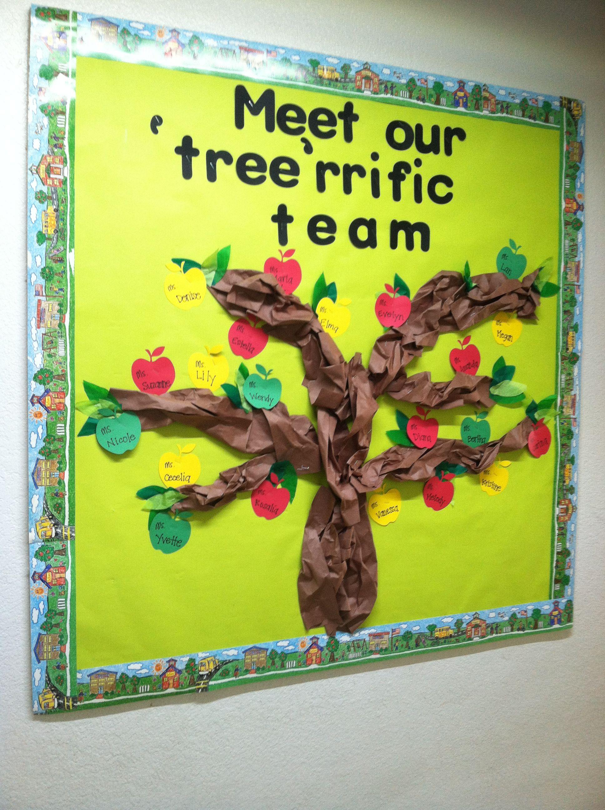 Back to school bulletin board- apple tree with staff members ...