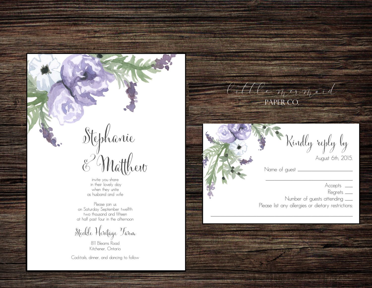 wildflower wedding invitation templates%0A PRINTABLE Modern Rustic purple watercolour floral DIY wedding invitation   Purple watercolour floral printable wedding invitation