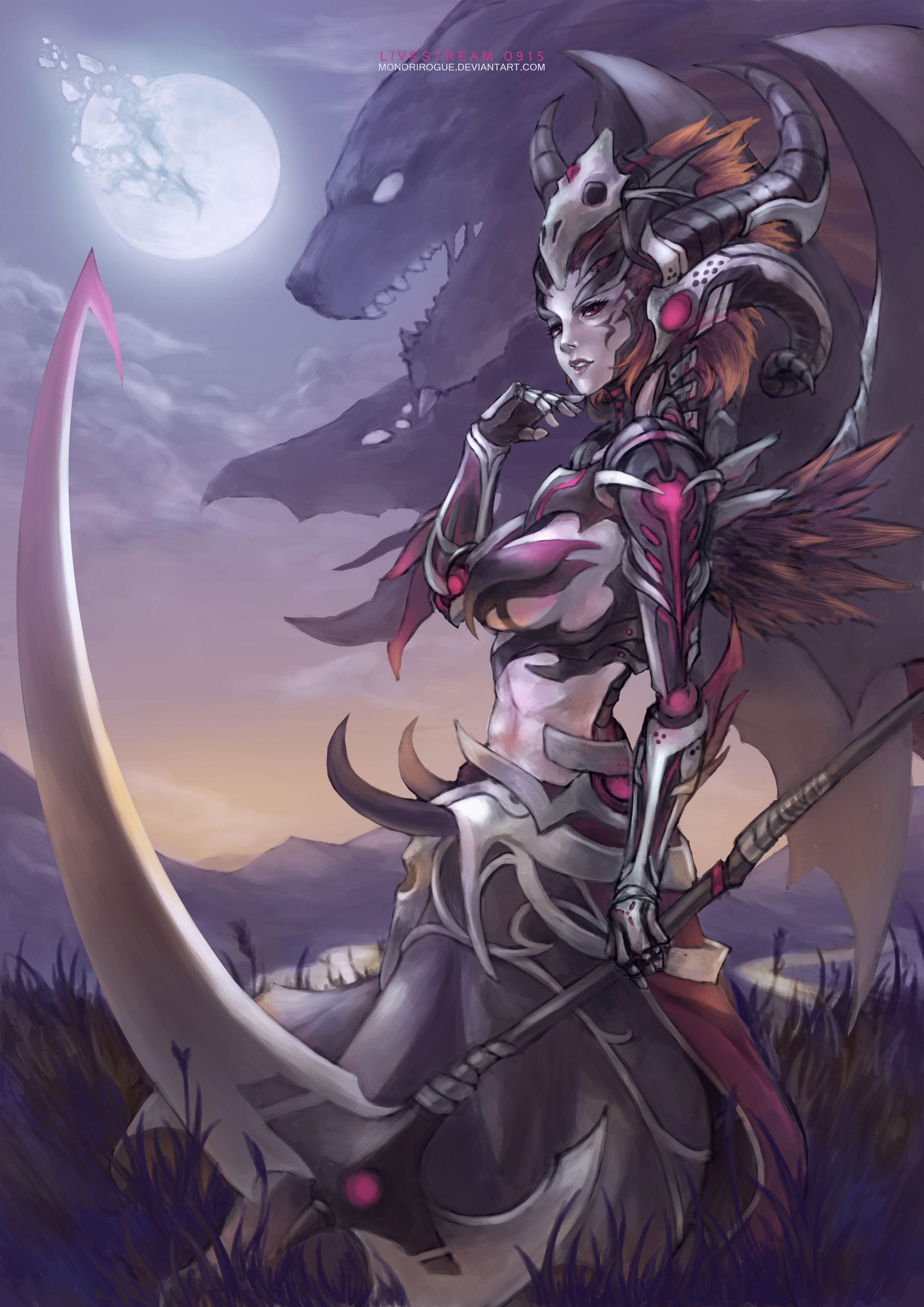 Anime picture 2480x3508 with  monori rogue single short hair tall image highres brown hair pink eyes profile braid (braids) horn (horns) lips full moon facial mark girl gloves moon helmet monster