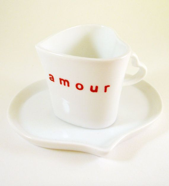 Heart Shaped Espresso Cup and Saucer