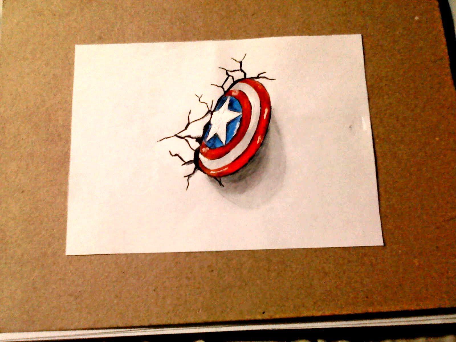 Como Dibujar El Escudo De Capitán América 3d Dibujo 3d Perros