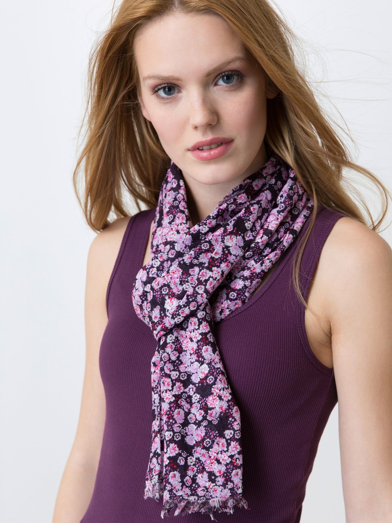 Woman's wrap in a Blossom-print cotton voile, HADI - light lilac, Women