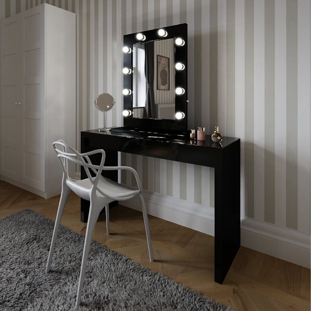 Angelina Hollywood Mirror in Black Gloss 80 x 60cm