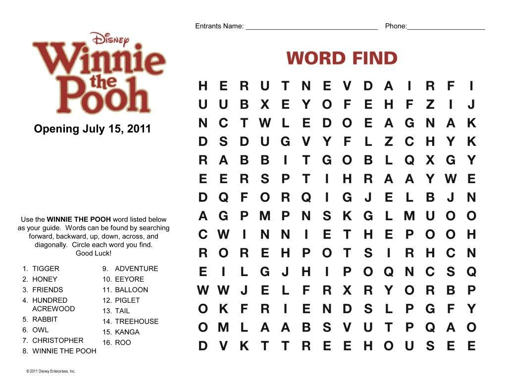 Winnie The Pooh Word Finds