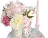 Romantic wedding decor, Pink bridal decor,  Wedding centerpieces, Baby shower decor, bridal shower decor, Faux floral decor, Paper flowers