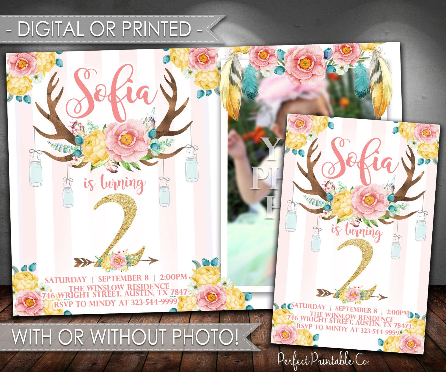 happy birthday invitation pictures%0A Antler Invitation  Pink and Gold Antler Birthday Invitation  Antler Invite   Floral Antler Invitation
