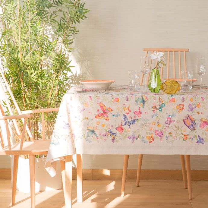 DIGITAL BUTTERFLY-PRINT TABLECLOTH AND NAPKIN