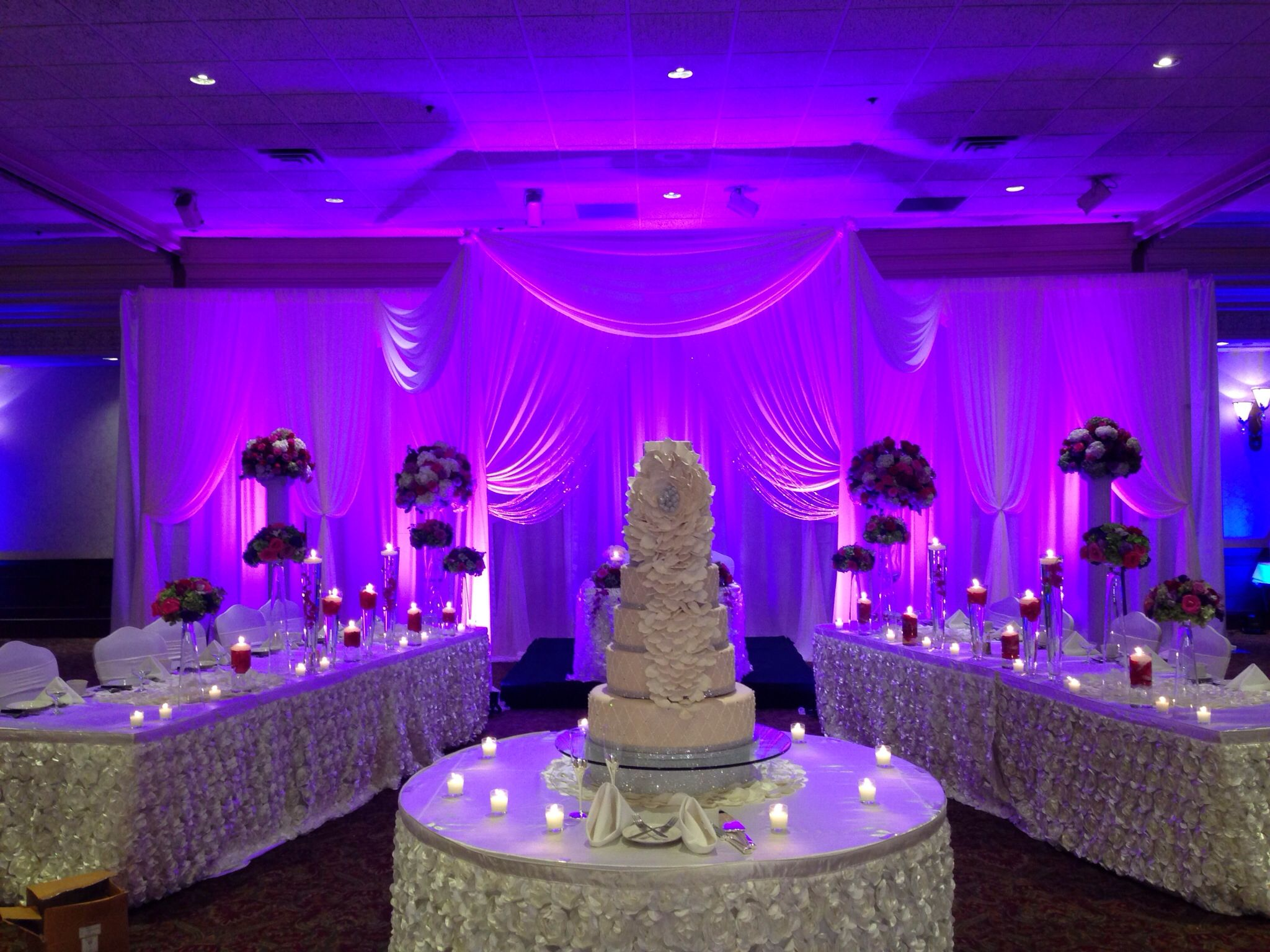 centerpieces for wedding receptions with candles%0A Shades of purple and shades of pink for reception flowers with lots of  candles  Sheer