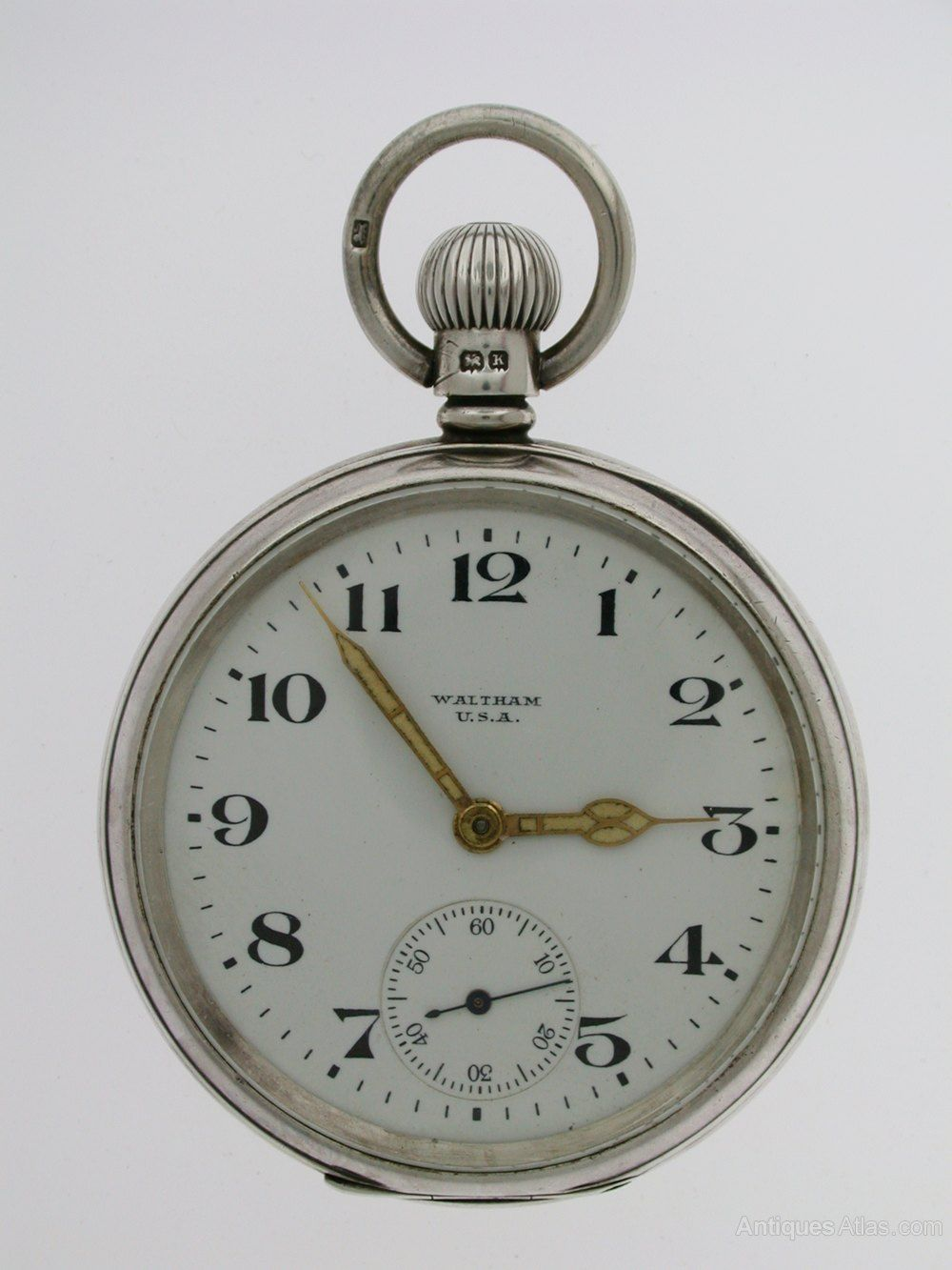 8dafbc1bd Silver Waltham USA Open Face Pocket Watch ALD Case in 2019   Watches ...