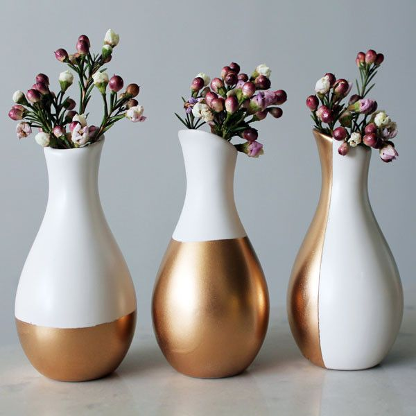 Diy Gold Dipped Vases From Brit Co Lovely Home Pinterest