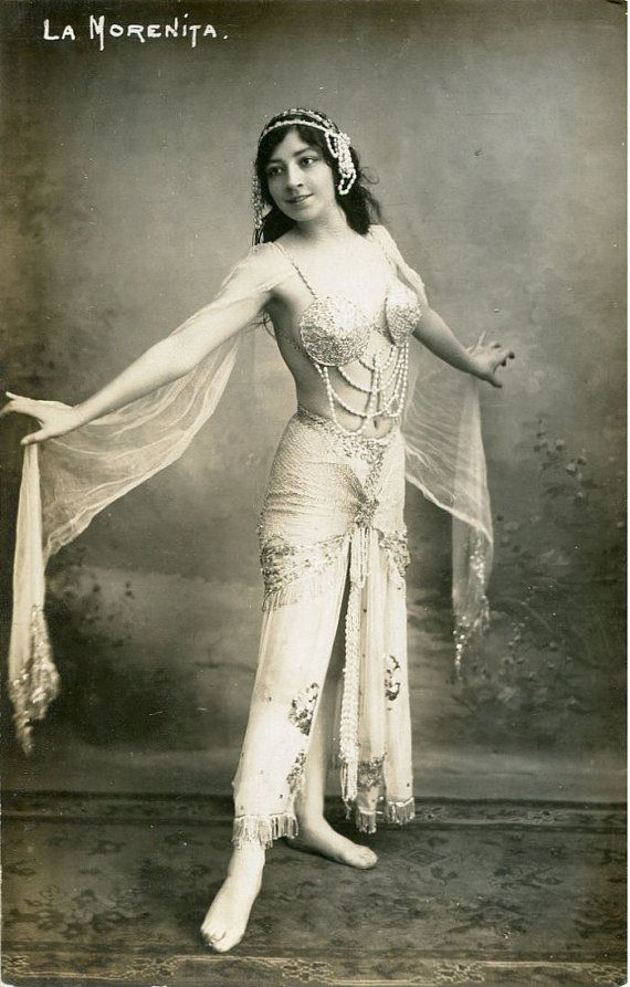Original French vintage hand tinted real photo postcard - Actress La Morenita in beautiful dress