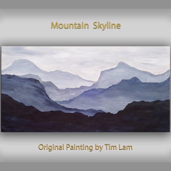 Original Abstract Mountain Art Black And White Large Oil Painting On Gallery Wrap Canvas Ready To Hang By T Mountain Art Large Oil Painting Simple Oil Painting