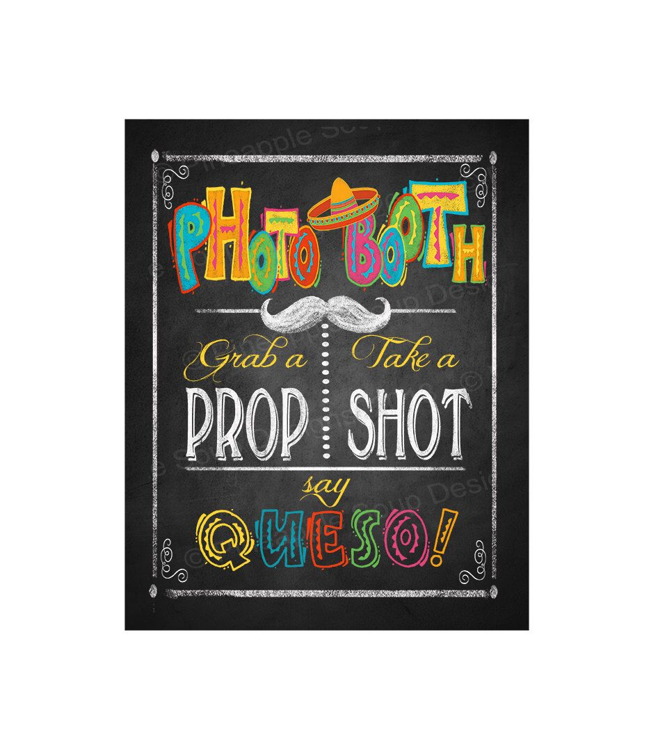 Fiesta Party PHOTO BOOTH sign in chalkboard