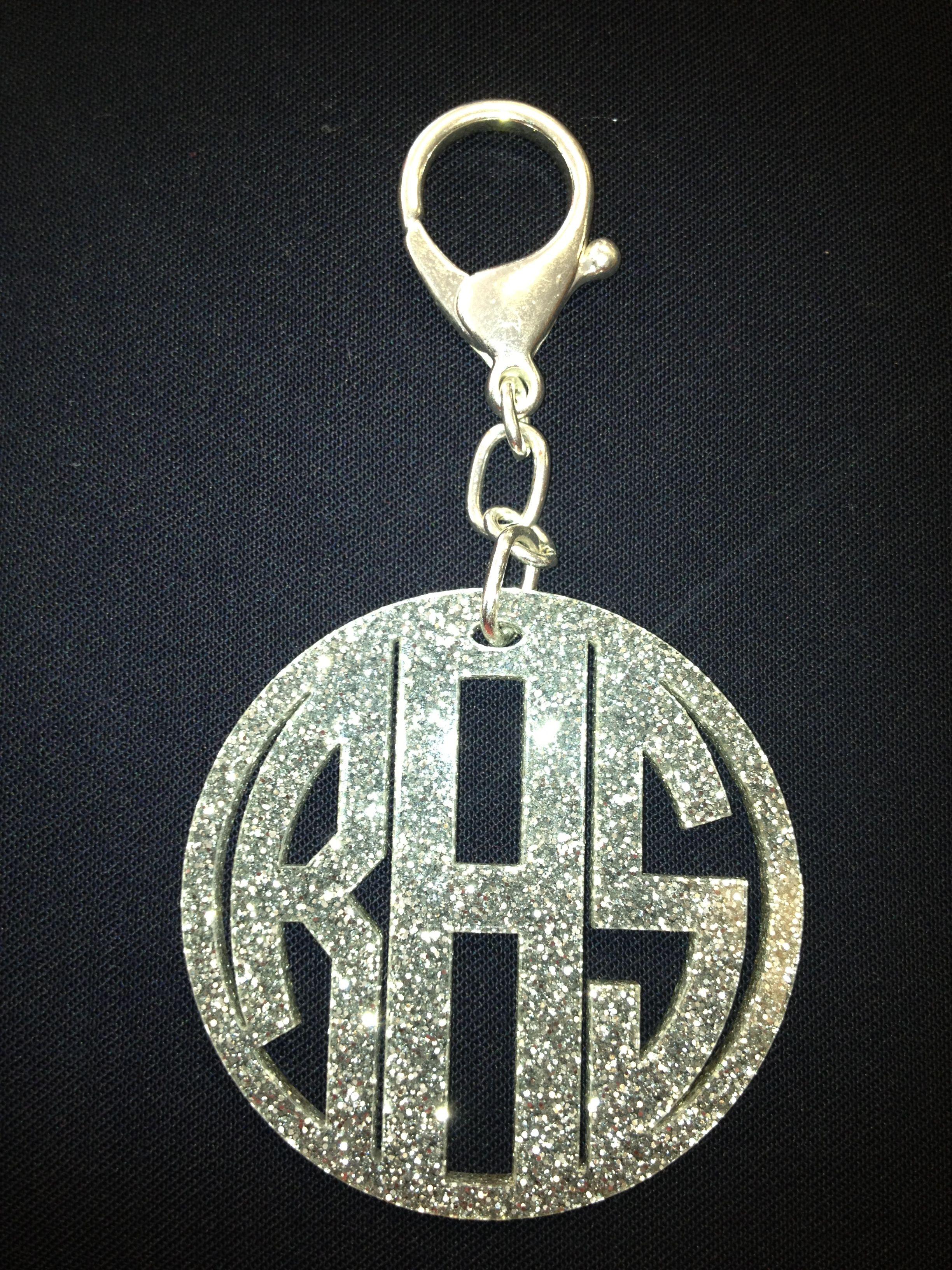 Silver glitter acrylic monogram keychain