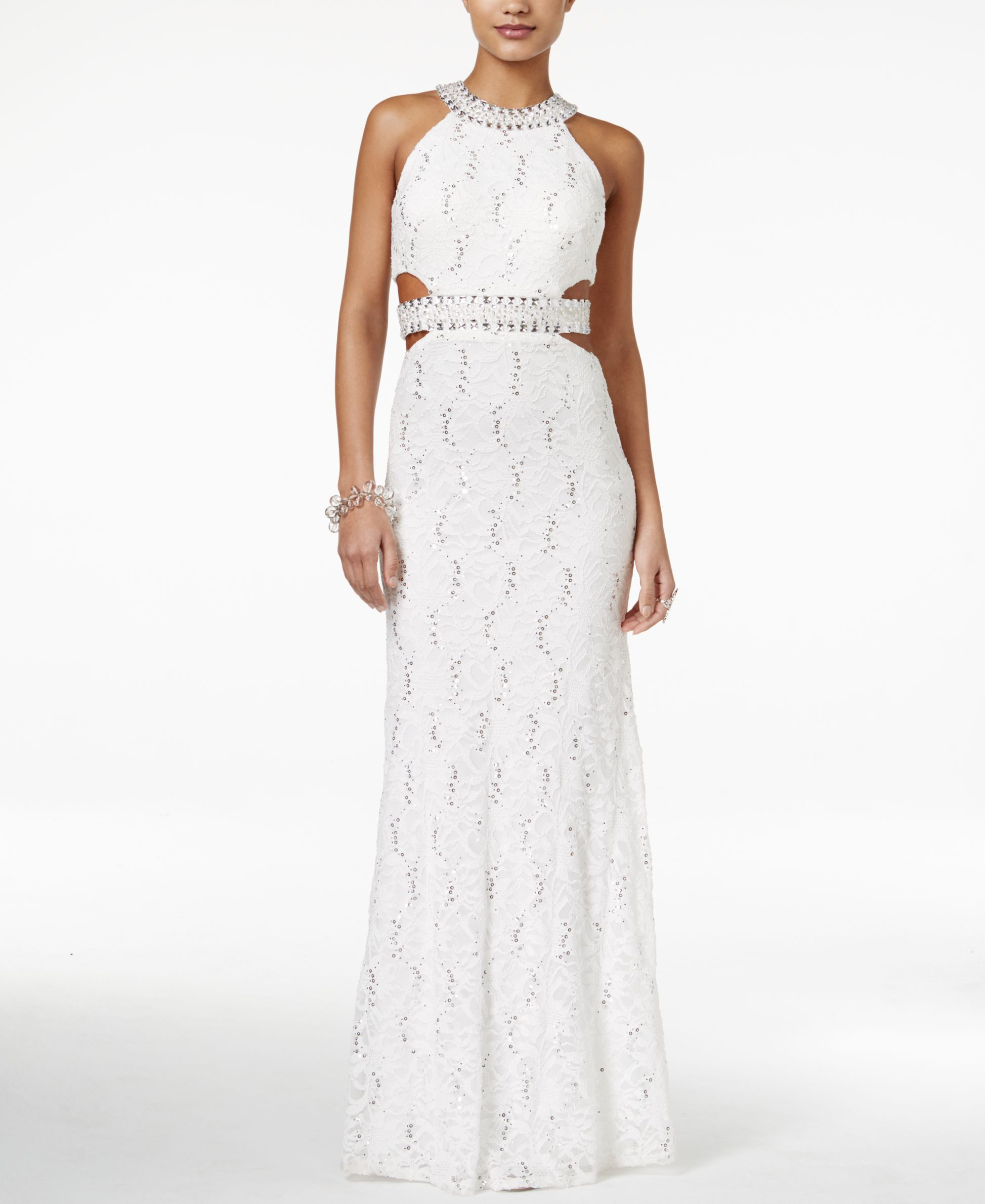 B darlin juniorsu lace sequined halter gown products pinterest