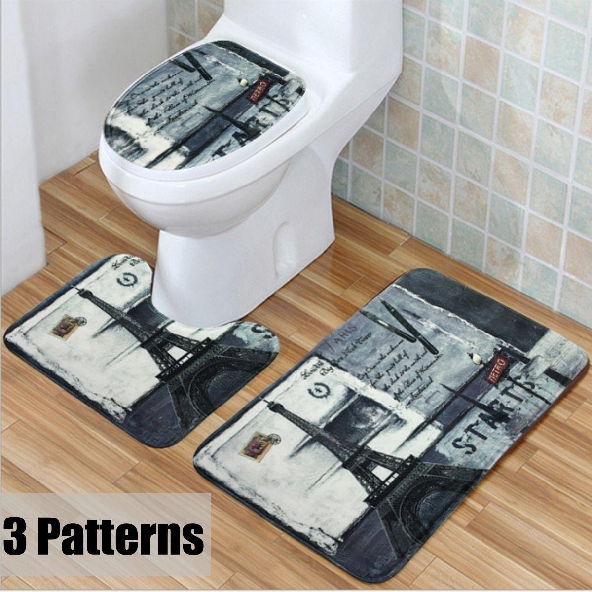 3pcs retro vintage eiffel tower train carpet bathroom rugs toilet rh pinterest com