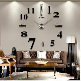 2016 Diy 3d Home decoration wall clock big mirror wall clock Modern design,large size wall clocks diy wall sticker unique gift is part of Large Living Room Black -  15 3  Battery 1 5V AA battery(1 piece)(out) Number size about 1818cm Number Thickness about 810mm Brand Name AIWALL