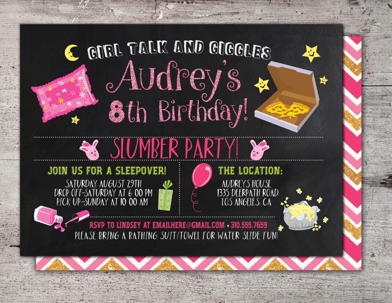 Sleepover Party Invitation Boy Birthday Invitations birthday