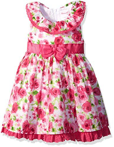 Nannette Little Girls Swiss Dot All Over Floral with Ruffles Pink 4T *** Read more reviews of the product by visiting the link on the image.