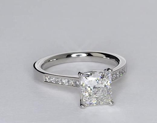 Channel Set Princess Cut Diamond Engagement Ring in Platinum (1/2 ct. tw