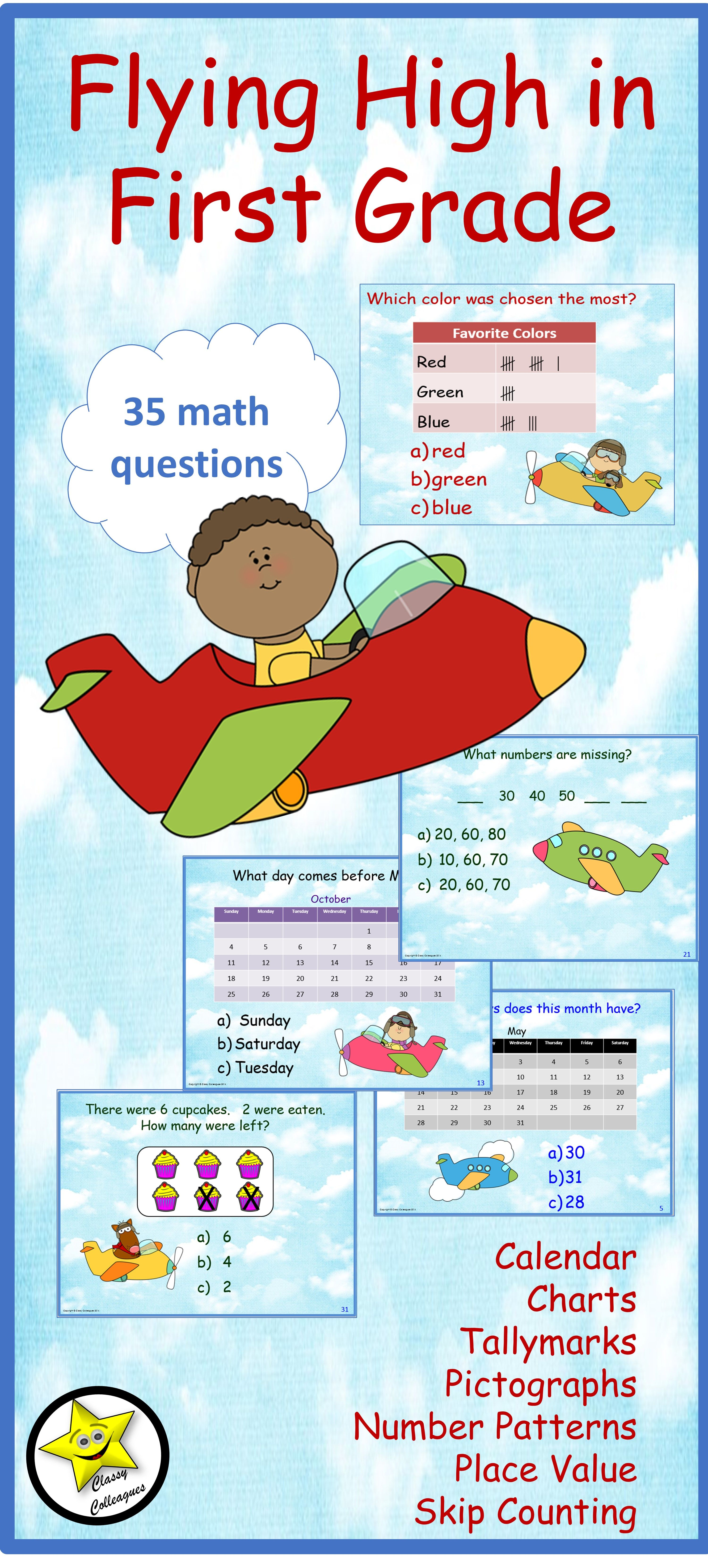 First Grade Math Review and Test Prep | Number patterns, Math skills ...