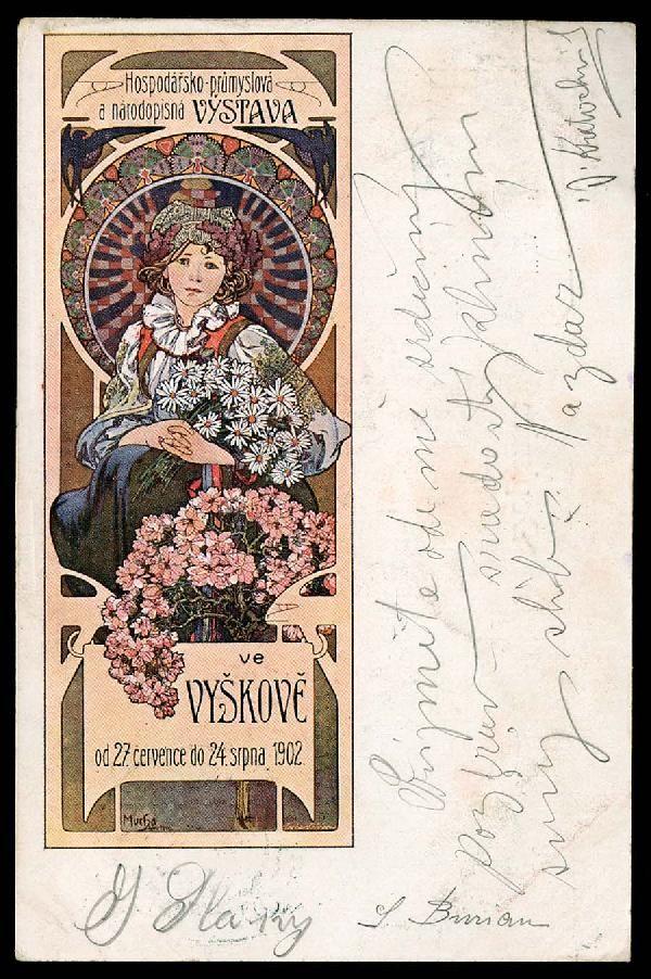 Handwritten Mucha Card C. 1902