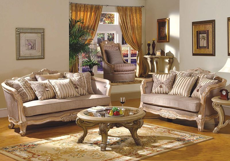 Leander Formal Living Room Set in Antique White Wash | Victorian ...